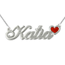 Sterling Silver Name Necklace with Colour Charm product photo