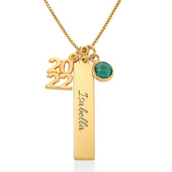 Personalised Charms Graduation Necklace in Gold Plating product photo