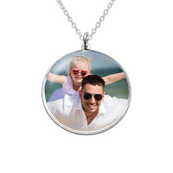 Round Pendant with Photo necklace in Sterling Silver product photo