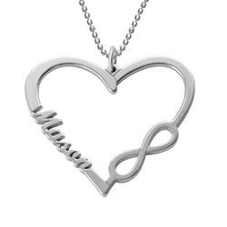 Personalised Heart Infinity Necklace product photo