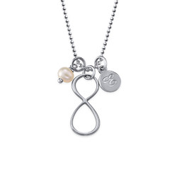 Infinity Necklace with Initial charm in Silver product photo