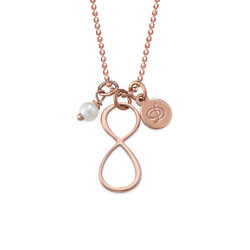Infinity Necklace with Initial charm in Rose Gold Plating product photo
