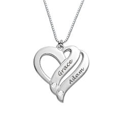 Two Hearts Forever One Sterling Silver Diamond Necklace product photo
