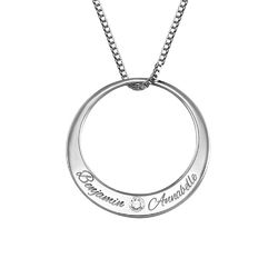 Circle Sterling Silver Diamond Necklace product photo