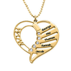 Engraved Mum Necklace with Diamonds in Gold plating product photo