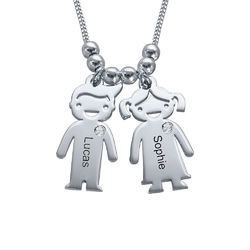 Kids Charms Mother Necklace in Sterling Silver with Diamond product photo