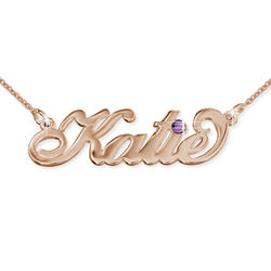 Rose Gold Plated Silver Birthstone Name Necklace product photo