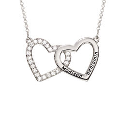Engraved Double Heart Necklace in Sterling Silver product photo