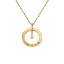 Personalized Circle Necklace with Diamond in 18ct Gold Plating product photo
