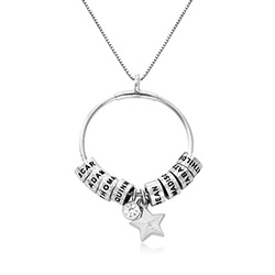 Large Linda Circle Pendant Necklace in Sterling Silver product photo