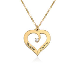 Fine Diamond Custom Heart Necklace in Gold Plating product photo