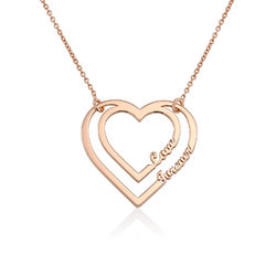 Personalized Heart Necklace with Two Names in Rose Gold Plating product photo