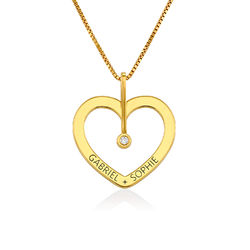 Personalized Love Necklace with Diamond in Gold Vermeil product photo