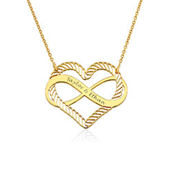 Engraved Heart Infinity Necklace in Gold Plating product photo