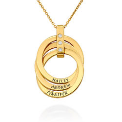 Russian Ring Necklace with Diamonds in Gold Vermeil product photo
