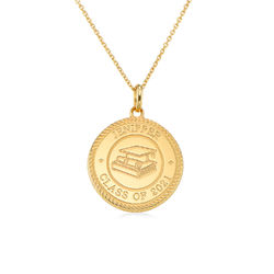 Graduation Cap Personalised Necklace in Gold Plating product photo
