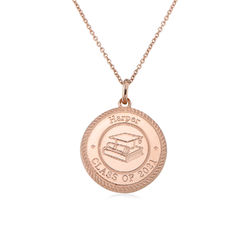 Graduation Cap Personalised Necklace in Rose Gold Plating product photo
