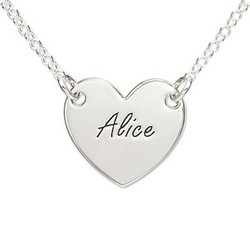 Sterling Silver Engraved Heart Necklace product photo