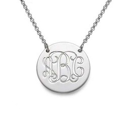 Monogram Disc Necklace in Sterling Silver product photo