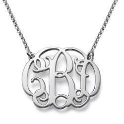 Silver Celebrity Style Monogram Necklace product photo