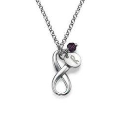 Crystal Birthstone on Vertical Infinity Pendant product photo