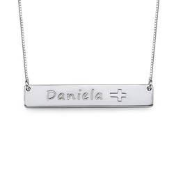 Silver Bar Necklace with Icons product photo