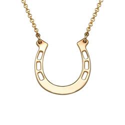 Gold Plated Engraved Horseshoe Necklace product photo