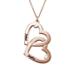 Heart in Heart Necklace in Rose Gold Plated with Diamonds product photo