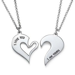 Silver Couples Breakable Heart Necklace product photo