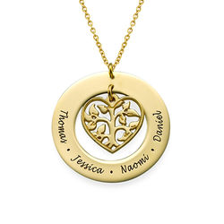Heart Family Tree Necklace with Gold Plating product photo