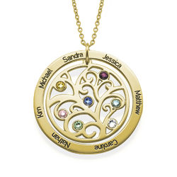 Family Tree Birthstone Necklace - 18ct Gold Plated product photo