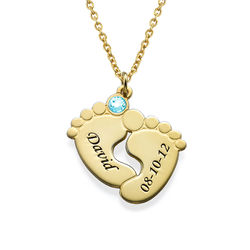 Personalised Baby Feet Necklace in Gold Plating product photo