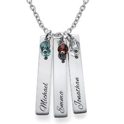 Engraved Bar Necklace in Sterling Silver product photo