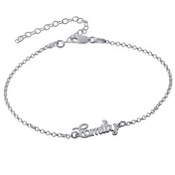 Ankle Bracelet with name in Silver product photo