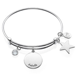 Bangle Charm Bracelet with Engraved Name product photo