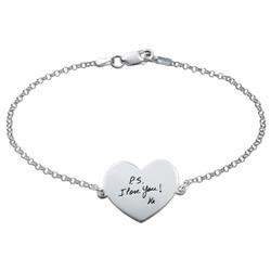 Engraved Handwriting Bracelet - Heart Shaped product photo