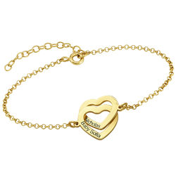 Interlocking Hearts Bracelet with 18ct Gold Plating product photo