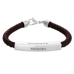 Engraved Leather Bar Bracelet for Men- in Brown product photo