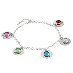 Mum Personalised Charms Bracelet with Swarovski Crystals in Sterling product photo