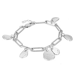 Personalised Chain Link Bracelet with Engraved Charms in Sterling product photo