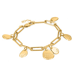 Personalised Chain Link Bracelet with Engraved Charms in 18ct Gold product photo