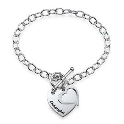 Sterling Silver Double Heart Charm Bracelet product photo
