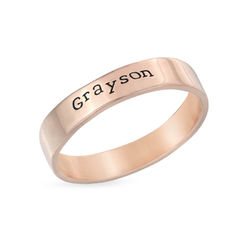 Engraved Name Ring - Hand Stamped Style with Rose Gold Plating product photo
