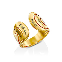Hug Ring with Kids Name in Gold Plating product photo