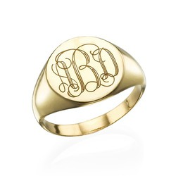 Signet Ring in Gold Plating with Engraved Monogram product photo