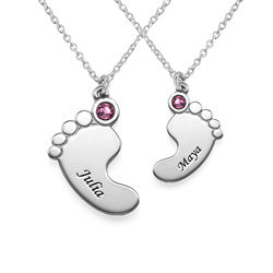 Mother and Daughter Baby Feet Necklace product photo
