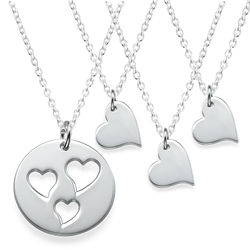Mother and Daughter Cut Out Heart Necklace Set product photo