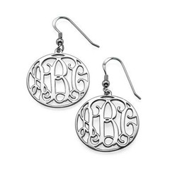 Sterling Silver Monogrammed Earrings product photo