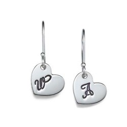 Silver Dangling Heart Earrings with Initial product photo