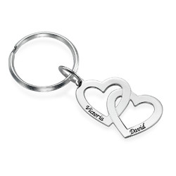 Sterling Silver Heart in Heart Keyring product photo